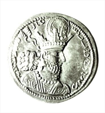 Obverse of a coin depicting profile of Shapur II
