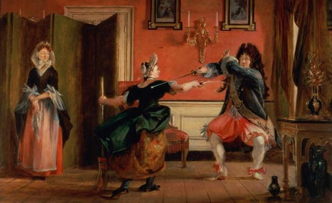 Jourdain Fences his Maid, Nicole with his Wife Looking on. Scene From 'Le Bourgeois Gentilhomme', Act III, Scene 3