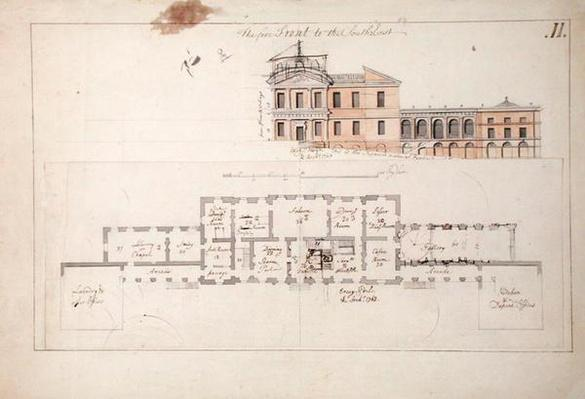 Ground plan and elevation for a villa, 1763