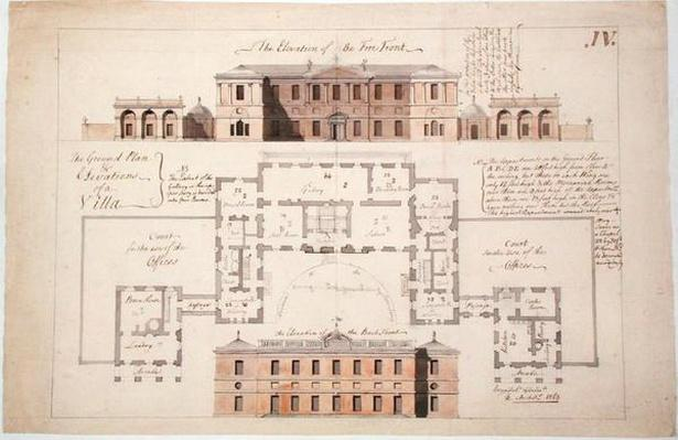 Ground plan and elevations for a substantial villa, 1770