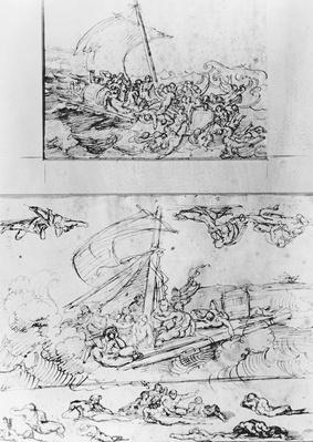 Two sketches for The Raft of the Medusa, c.1819