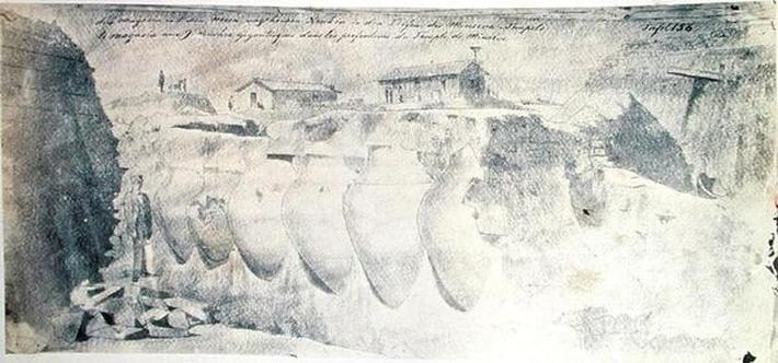 Sketch of a shop with nine giant amphorae in the lower levels of the Temple of Minerva, from the Troy excavations