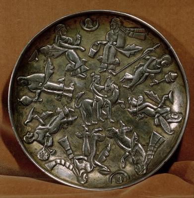 Dish with relief decoration depicting the goddess Anahita surrounded by eight female figures