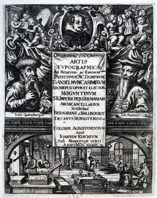 Frontispiece to 'On the Origin and History of Typography' by Bernardus Mallinckrodt, 1634