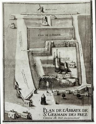 Map of the Abbey of Saint-Germain-des-Pres, 1713
