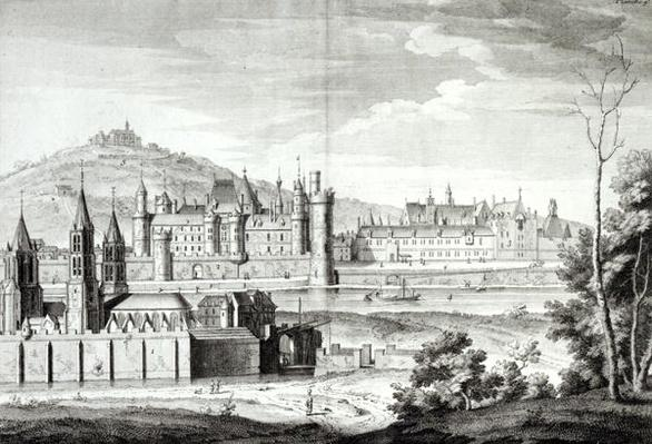 View of the Abbey of Saint-Germain-des-Pres, the Louvre, Petit Bourbon, Montmartre and the Seine in 1410, engraved by Antoine Herisset
