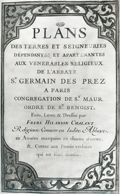 Frontispiece to 'Plans des terres et seigneuries de l'abbaye de Saint-Germain-des-Pres', 1668-76