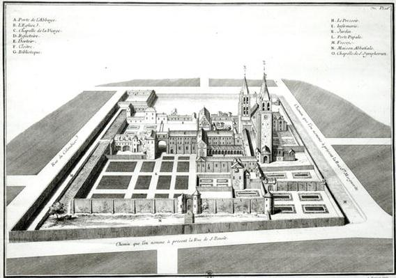 View of the Abbey of Saint-Germain-des-Pres before 1640, engraved by Antoine Herisset