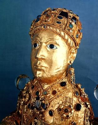 Reliquary statue of St. Foy, detail of the head, c.980