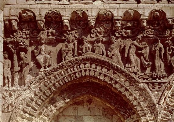 View of the West Facade, detail depicting the prophets, the Annunciation and the Original Sin