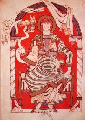 Ms 24 fol.15 St. Matthew, illustration from the Gospel of the Abbey of Corbie
