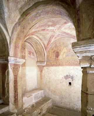 View of the Carolingian frescoes in the inner crypt, c.858