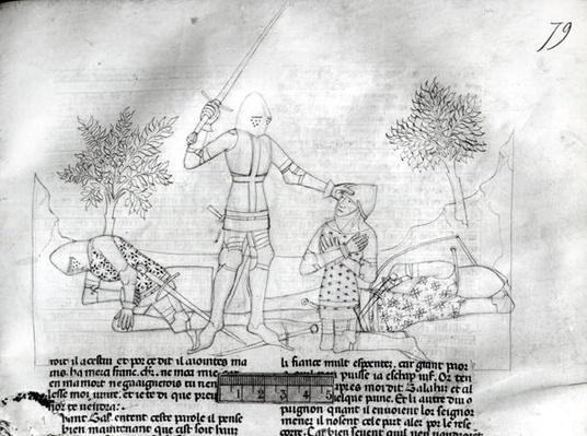 Ms Fr 343 f.79 Arming a knight on a battlefield, from 'Lancelot du Lac'