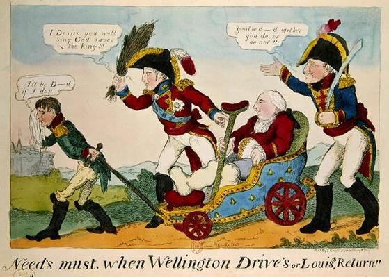 'Need's Must when Wellington Drive's or Louis' Return', caricature depicting Louis XVIII