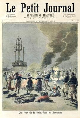 Bonfires lit to celebrate the summer solstice in Brittany, front cover of 'Le Petit Journal', 1st July 1893