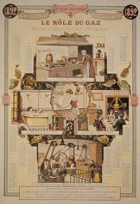 The Role of Gas in modern houses, from a French Gas Company calendar, 1892