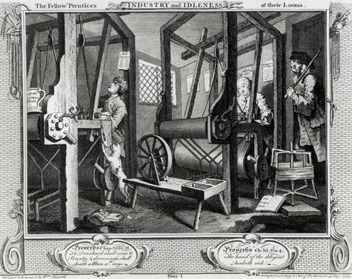 Industry and Idleness, The Fellow'Prentices at their Looms, plate 1, 1747