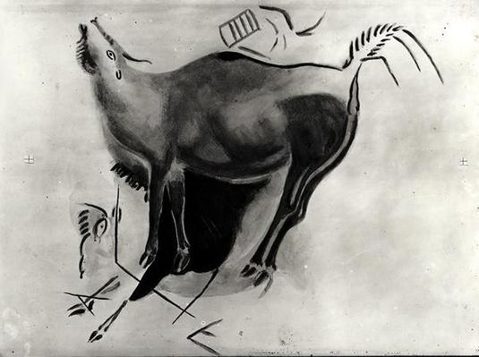 Copy of a rock painting at the Altamira Caves depicting a stag belling