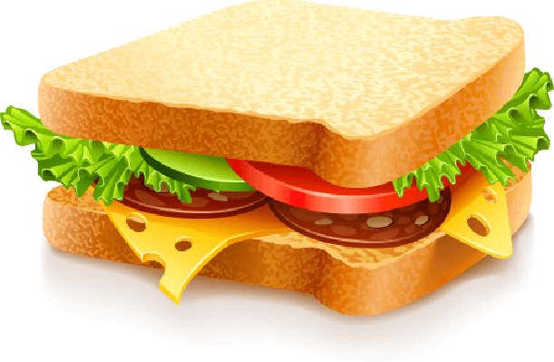 appetizing sandwich with cheese sausage and vegetables | Health and Nutrition