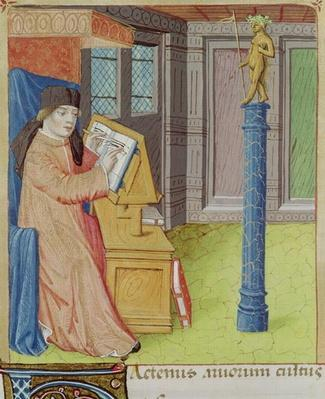 Ms 493 fol.29r Virgil writing before Artemis, from 'The Georgics' by Virgil