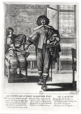 Courtier following the last royal edict in 1633 and his lacquey