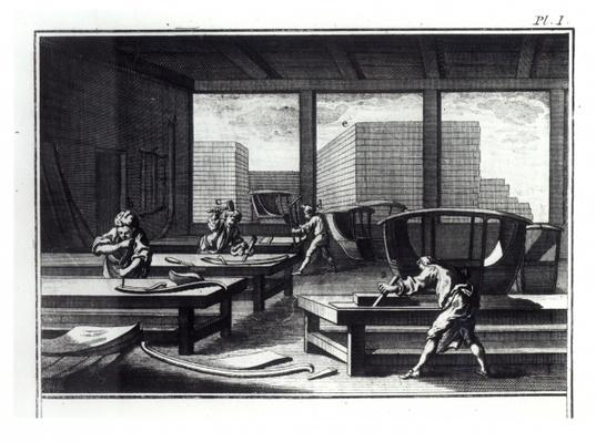 Joiner's workshop, making coaches and sedan chairs, from 'Encyclopedia' by Denis Diderot
