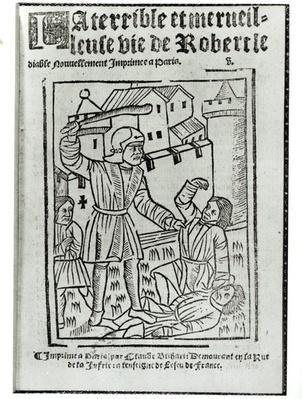 Title page from 'La Terrible et Merveilleuse Vie de Robert le Diable', published by Claude Blihart in 1563