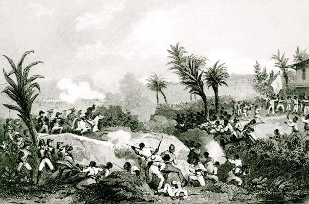 Black revolt in Santo Domingo, 16th September 1802, from 'Histoire Universelle du XIXe siecle', after Martinet