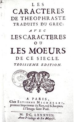 Titlepage of 'Les Caracteres de Theophraste traduits du grec, avec Les Caracteres ou les moeurs de ce siecle' by La Bruyere