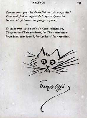 Cat's head, illustration for a poem by Francois Coppee