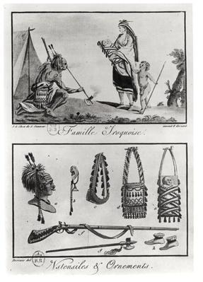 Iroquois family, arms and ornaments, from 'Tableaux cosmographiques de l'Amerique', engraved by Claude Louis Desrais