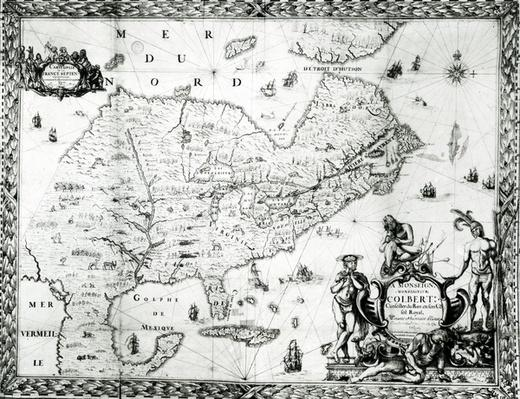 Map of New France dedicated to Colbert by Duchesneau, Intendant, 1681