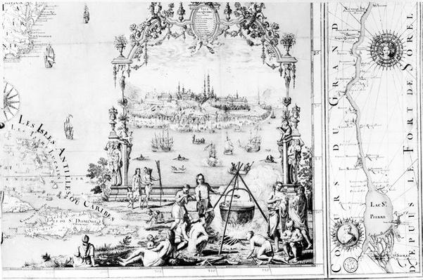 View of Quebec, cartouche of a map depicting St. Lawrence River from Sorel, 1699