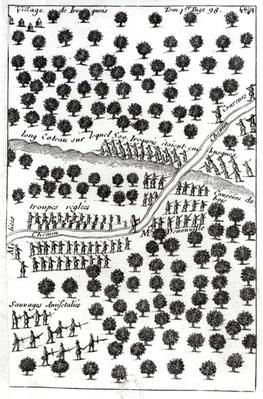 Ambush of the Iroquois, from 'Dialogue de M. le baron de Lahontan et d'un sauvage dans l'Amerique', published in Amsterdam 1704