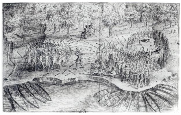 Fighting of Hurons, from 'Voyage de Champlain in 1624' by Samuel de Champlain