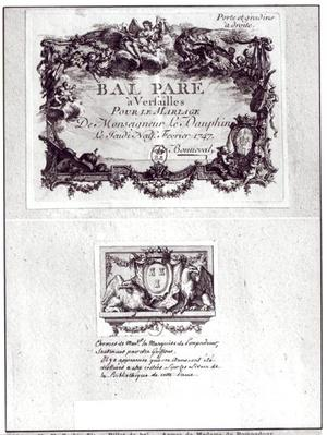 Entrance ticket for the ball in Versailles for the wedding of Monseigneur le Dauphin, 9th February 1747 and Ex Libris with arms of Madame de Pompadour