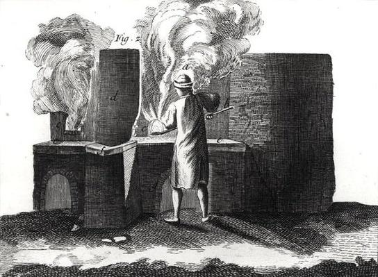 Glassmaking workshop, from the 'Encyclopedia' by Denis Diderot