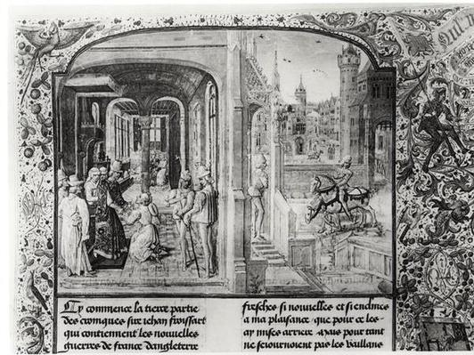 T.III fol.1 Froissart received at Orthez by Count Gaston de Foix, to whom he gives the letter from Guy de Blois, from Froissart's Chronicle