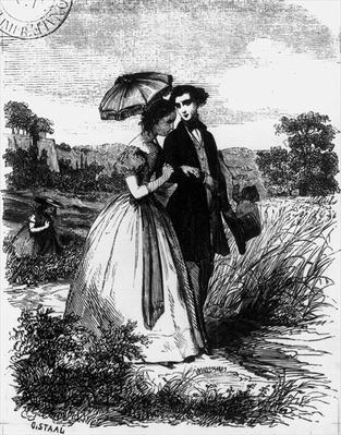 Felix de Vandenesse and Madame de Mortsauf, illustration for 'Le Lys Dans la Vallee' by Honore de Balzac