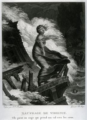 Shipwreck of Virginie, illustration for 'Paul et Virginie' by Bernardin de Saint-Pierre