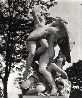 Saturn Abducting Cybele, allegory of Earth, c.1675-80, photographed in the Jardin des Tuileries, Paris, by Adolphe Giraudon