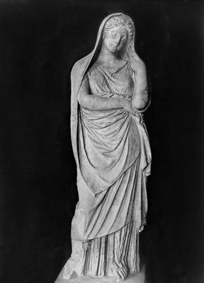 Draped and veiled woman, funeral statue, c.325 BC