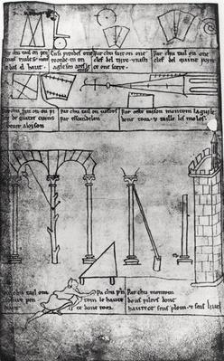 Ms.Fr.19093 fol.20v Geometrical figures for construction, arches and man measuring the height of a tower