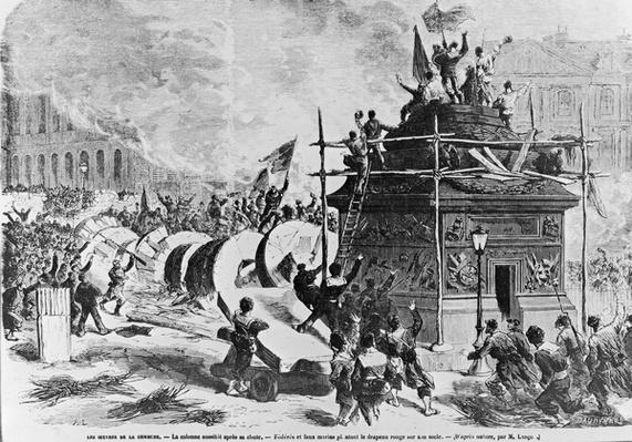 The Vendome column just after its fall, Federes and fake sailors putting the red flag in the pedestal, 16th May 1871