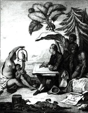 Pierre Sonnerat Drawing a Bird, from 'Voyage a la Nouvelle-Guinee', engraved by Marie Therese Martinet