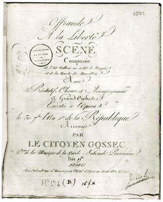 Cover for the score of 'Offrande a la Liberte' arranged by Francois Joseph Gossec