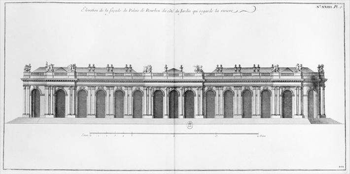 Facade on the Seine of Palais Bourbon, Paris, from 'L'Architecture Francaise' by Jacques Francois Blondel