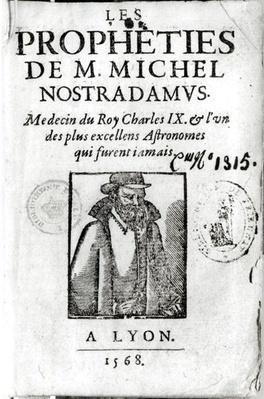 Frontispiece to 'Les Propheties de M. Michel de Nostradamus