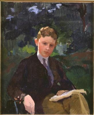Portrait of Marcel Renoux aged about 13 or 14, reading