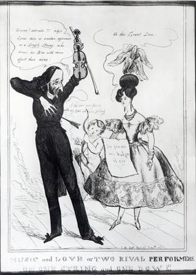 'Music and Love or Two Rival Performers on one String and one Bow', caricature of Hector Berlioz